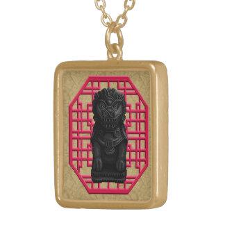 Black Lion Dog Square Pendant Necklace