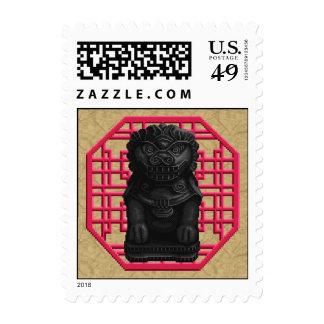 Black Lion Dog Stamps