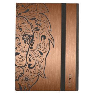 Black Lion Head Skull Metallic Copper Background iPad Air Covers
