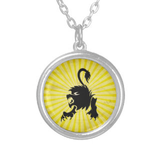 Black Lion; Leo Silver Plated Necklace