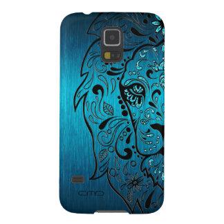Black Lion Sugar Skull Metallic Blue Background Galaxy S5 Case