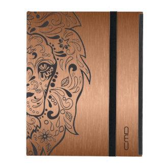 Black Lion Sugar Skull Metallic Copper Background iPad Folio Case