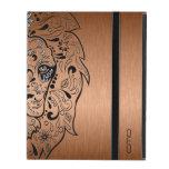 Black Lion Sugar Skull Metallic Copper Background iPad Cases