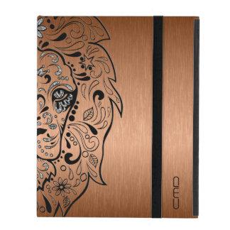 Black Lion Sugar Skull Metallic Copper Background iPad Cover