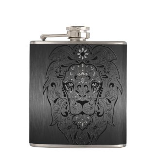 Black Lion Sugar Skull Metallic Gray Background Hip Flask