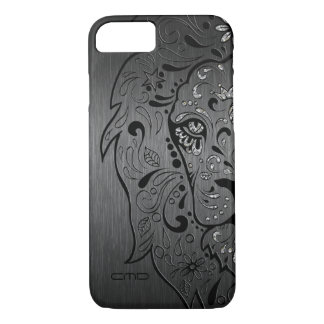 Black Lion Sugar Skull Metallic Gray Background iPhone 7 Case