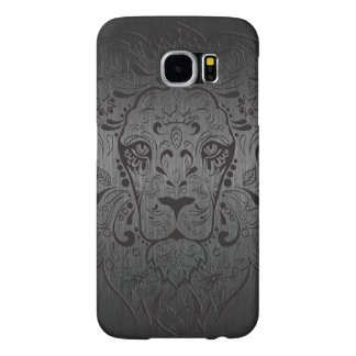 Black Lion Sugar Skull Metallic Gray Background Samsung Galaxy S6 Case