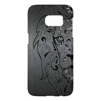 Black Lion Sugar Skull On Gray Background Samsung Galaxy S7 Case