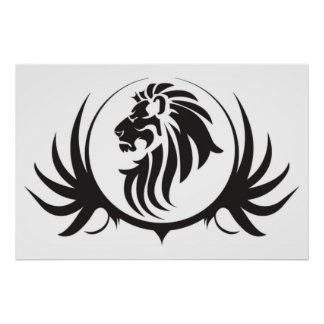 Black Lions Head On  White Background Poster