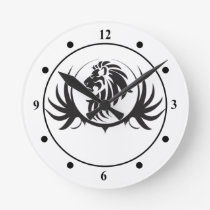 Black Lions Head Round Clock