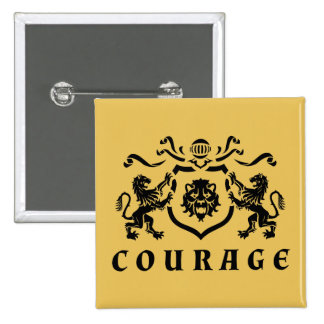 Black Lions Heraldic Courage Blazon Button