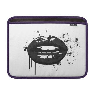 Black lips stylish fashion kiss makeup artist MacBook air sleeve