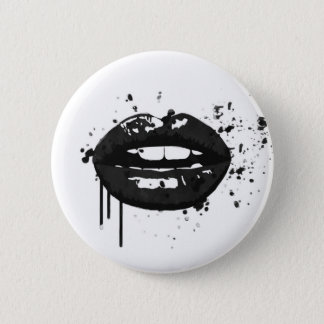 Black lips stylish fashion kiss makeup artist pinback button