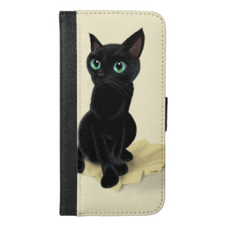 Black little kitty iPhone 6/6s plus wallet case