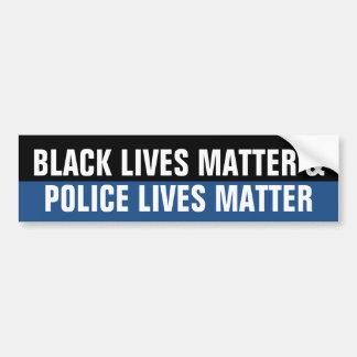 Black Lives Matter and Police Lives Matter Bumper Sticker