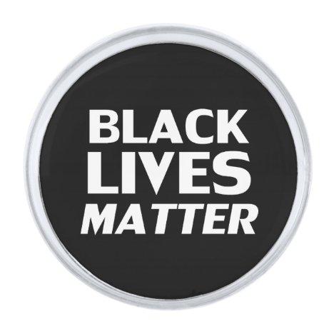 """""""Black Lives Matter"""" - black white Silver Finish Lapel Pin"""