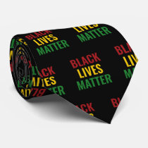 BLACK LIVES MATTER BLM Red Yellow Green BHM Neck Tie