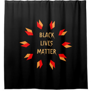 Black Lives Matter Gold and Red Shower Curtain
