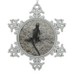 Black Lizard Snowflake Pewter Christmas Ornament