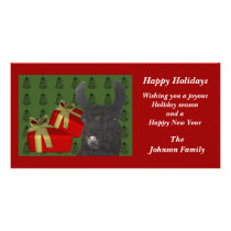 Black Llama Farm Animal Christmas Holiday Card