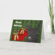 Black Llama Farm Animal Christmas Holiday Card