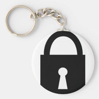 black lock icon basic round button keychain