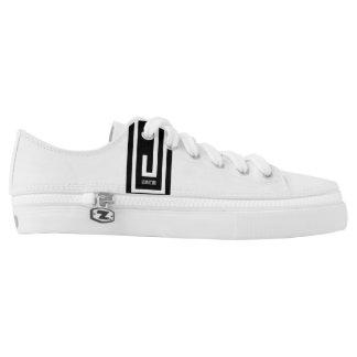black logo j wear design unisex white canvas shoe
