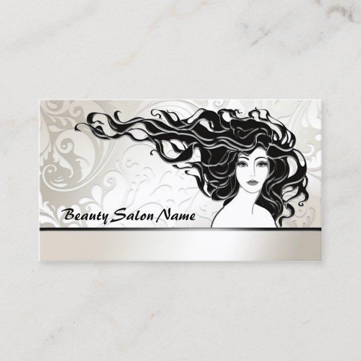 Black Long Curly Hair Woman Beauty Salon Card Zazzle Com