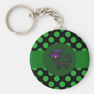 Black Long Hair Chihuahua with Green Dots Basic Round Button Keychain
