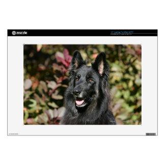 "Black Long Haired German Shepherd 15"" Laptop Skin"