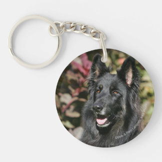 Black Long Haired German Shepherd Keychain