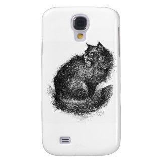 Black Longhaired Cat Art Galaxy S4 Case