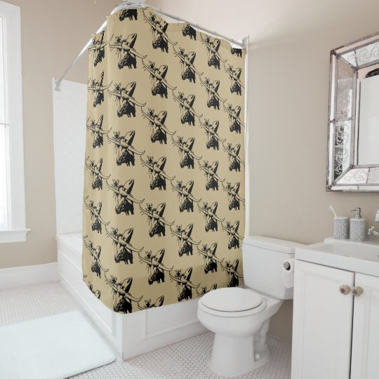 Black Longhorn Steer With Cowboy Hat Shower Curtain