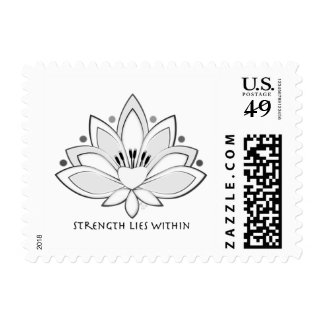 Black Lotus Blossom Strength Lies Within Stamp