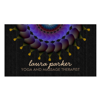 Black Lotus Flower Mandala Yoga Health Massage Business Card
