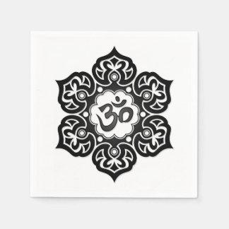 Black Lotus Flower Om on White Paper Napkins