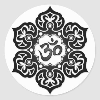 Black Lotus Flower Om on White Classic Round Sticker