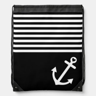 Black Love Anchor Nautical Drawstring Bag