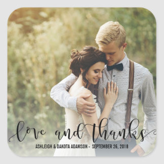 Black Love And Thanks Script | Personalized Photo Square Sticker