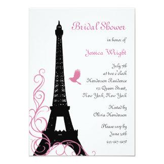 Black Love Birds Bridal Shower 5x7 Paper Invitation Card