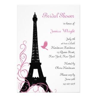 Black Love Birds Bridal Shower Invitations