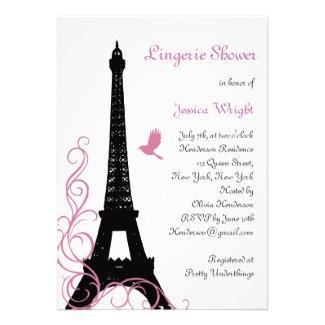 Black Love Birds Lingerie Shower Custom Invite