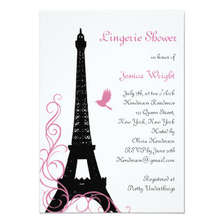 Black Love Birds Lingerie Shower 5x7 Paper Invitation Card
