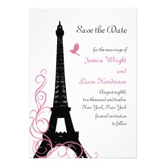 Black Love Birds Save the Date Invitations