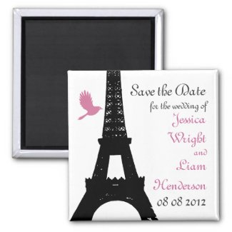Black Love Birds Save the Date Fridge Magnets
