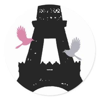 Black Love Birds Sticker