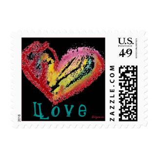 Black Love Heart Pastel Small Postage Square