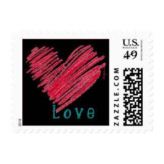Black Love Heart Pastels Square Small Postage