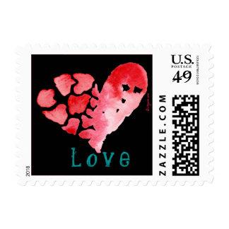 Black Love Heart Puzzle Square Small Postage