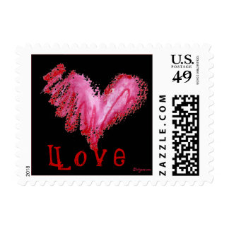 Black Love Heart Small Postage Square Stamps